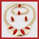 18K Yellow Gold Plated Marquise Red Crystal Necklace Earrings Bracelet Ring Jewelry Set