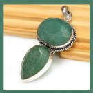 Natural Green EMERALD Gemstone Pear & Round Shaped 925 Sterling Silver Pendant