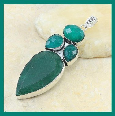 101.00ctw Natural Green EMERALD Gemstone Pear & Oval Shaped 925 Sterling Silver Pendant