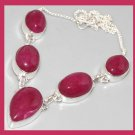 Natural RUBY Gemstone Pear and Oval cut 925 Sterling Silver Overlay Necklace