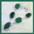 Natural EMERALD Gemstone Marquise and Oval 925 Sterling Silver Overlay Necklace