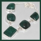 Natural Emerald Gemstone Rectangle and Square 925 Sterling Silver Overlay Necklace