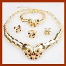 18K Yellow Gold Plated Brown & White Crystal Necklace Earrings Bracelet Ring Jewelry Set
