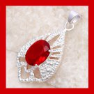 18ct Natural Red GARNET Oval Cut Gemstone 925 Sterling Silver Overlay Fancy Shaped Pendant