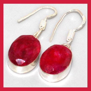 Red RUBY Oval Cut Gemstone 925 Sterling Silver Overlay Hook Earrings
