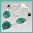Green CRACKLE QUARTZ Pear & Oval Shaped Gemstone 925 Sterling Silver Overlay Necklace