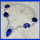Natural SAPPHIRE Pear Oval & Round Shaped Gemstone 925 Sterling Silver Overlay Necklace