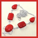 Red CORAL Oval Rectangle & Pear Shaped Gemstone 925 Sterling Silver Overlay Necklace