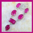 Natural Pink RUBY Pear Rectangle & Oval Shaped Gemstone 925 Sterling Silver Overlay Necklace