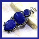 Natural Blue SAPPHIRE Pear & Oval & Round Shaped Gemstone 925 Sterling Silver Overlay Pendant