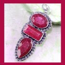 Natural Red RUBY Pear Rectangle Oval Cut Gemstone 925 Sterling Silver Overlay Pendant