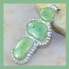 Green Solar QUARTZ Oval & Round Shaped Gemstone 925 Sterling Silver Overlay Pendant