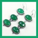 Natural EMERALD 3 Tier Oval Cut Faceted Gemstone 925 Sterling Silver Hook Earrings