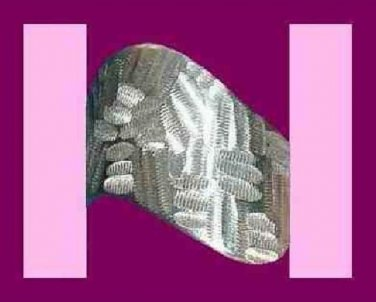 SATIN POLISHED STERLING SILVER ENGRAVED DESIGN S/S RING ~ NEW!