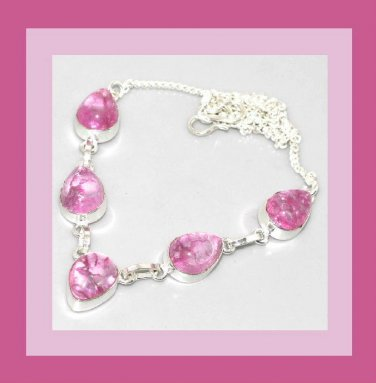 Pink Crackle QUARTZ Pear Shaped Gemstone 925 Sterling Silver Overlay Necklace