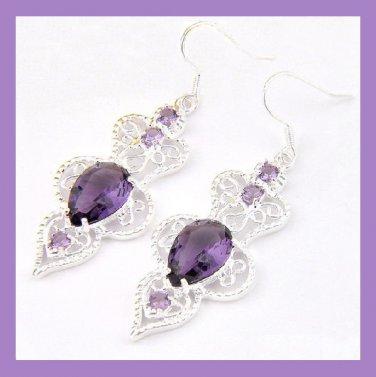 Purple AMETHYST Pear & Round Faceted Gemstone 925 Sterling Silver Overlay Hook Earrings