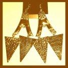 Eiffel Tower TRIANGLE 18K Yellow Gold Overlay 4 inch Chandelier Dangle Hook Earrings