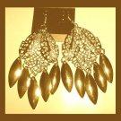 GOLDEN DANGLE 18K Yellow Gold Overlay 3.50 inch Chandelier Hook Earrings