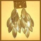 GOLDEN LEAFS 18K Yellow Gold Overlay 4.25 inch Chandelier Dangle Hook Earrings