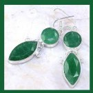 Natural EMERALD Marquise Round Cut Faceted Gemstone 925 Sterling Silver Chandelier Hook Earrings