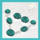 Blue Green Round & Oval Cabochon 925 Sterling Silver Overlay Necklace & Dangle Earrings Jewelry Set