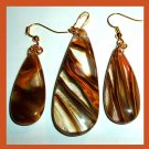 Brown Cherry QUARTZ Teardrop Gemstone 10k Yellow Gold Pendant & Dangle Hook Earrings Jewelry Set