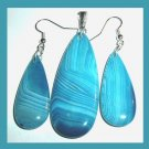 Blue AGATE Teardrop Gemstone Sterling Silver Pendant & Dangle Hook Earrings Jewelry Set