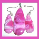 Pink AGATE Teardrop Gemstone Sterling Silver Pendant & Hook Earrings Jewelry Set