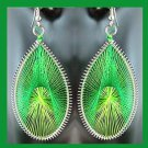 Shades of GREEN Teardrop Shaped Dangle Sterling Silver Overlay Chandelier Hook Earrings