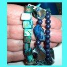 3 Row Blue Teal Silver Abalone Seashell Gemstone Bead Tennis Link Bangle Shell Bracelet