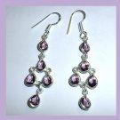 AMETHYST Light Purple Pear Faceted Gemstone Solid 925 Sterling Silver Hook Earrings