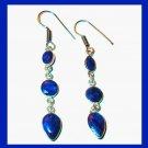 Natural Blue SAPPHIRE 3 Tier Pear Round Oval Cut Gemstone 925 Sterling Silver Overlay Hook Earrings