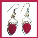 Natural Red RUBY Pear Cut Gemstone 925 Sterling Silver Overlay Hook Dangle Earrings
