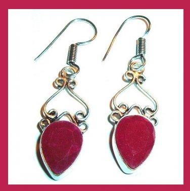 Natural Red RUBY Pear Cut Gemstone 925 Sterling Silver Overlay Hook Dangle Earrings