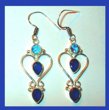 Natural Blue SAPPHIRE Pear Round Cut Gemstone 925 Sterling Silver Chandelier Hook Earrings