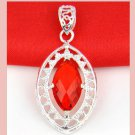 Red Crystal Marquise Cut Faceted 925 Sterling Silver Overlay Pendant