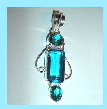 Blue QUARTZ Oval and Rectangle Cut Faceted Gemstone 925 Sterling Silver Overlay Pendant