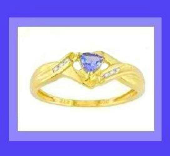 0.50ctw Genuine TANZANITE & DIAMOND 10K YELLOW GOLD RING