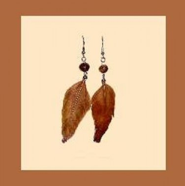 Brown Feather Wood Bead & Sterling Silver Fish Hook Chandelier Earrings - 3 1/2 Inches - NEW!