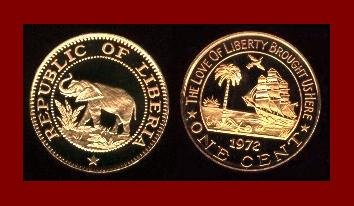 LIBERIA 1972 1 CENT BRONZE COIN KM#13 Africa Elephant - Galleon Ship - AU - BEAUTIFUL!