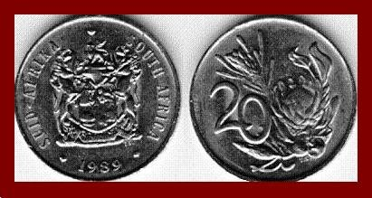 SOUTH AFRICA 1989 20 CENTS COIN KM#86 AFRICAN SUID TRIBAL LEGEND