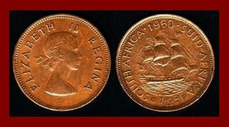 SOUTH AFRICA 1960 1/2 (Half) PENNY BRONZE COIN KM#45 AFRICAN SUID TRIBAL LEGEND ~ BEAUTIFUL!
