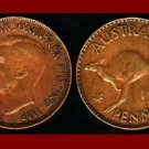 AUSTRALIA 1943(I) 1 PENNY BRONZE COIN KM#36 Oceania Kangaroo ~ WWII Coin