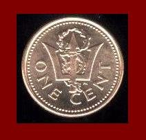 BARBADOS 2000 1 CENT COIN KM#10a Caribbean Trident - XF -  BEAUTIFUL!