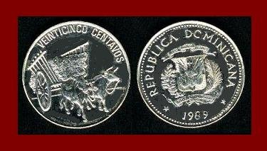 DOMINICAN REPUBLIC 1989 25 CENTAVOS COIN KM#71.1 Caribbean Ox & Cart