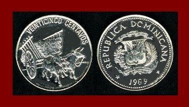 DOMINICAN REPUBLIC 1989 25 CENTAVOS COIN KM#71.1 Caribbean Ox & Cart