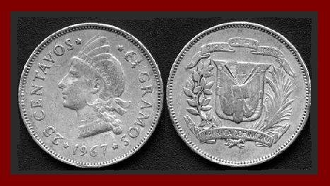 DOMINICAN REPUBLIC 1967 25 CENTAVOS COIN KM#20a.1 Caribbean