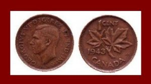 CANADA 1943 1 CENT BRONZE COIN KM#32 King George VI - WWII COIN