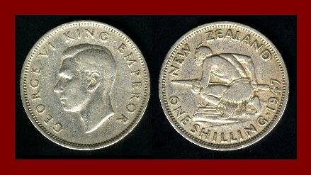 NEW ZEALAND 1947 1 SHILLING COIN KM#27.2 Oceania ~ King George VI ~ Maori Warrior & Spear ~ SCARCE!