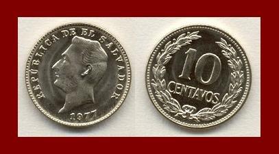 EL SALVADOR 1977 10 CENTAVOS COIN KM#150a Central America ~ BEAUTIFUL!